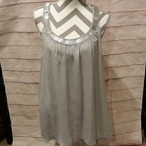 Silver tank top with sequins